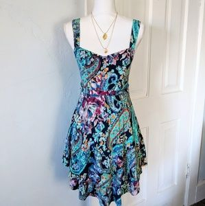 Free People Sm Turquoise Paisley Sweetheart Dress